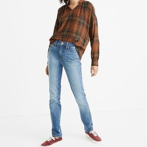 Madewell Orange Brown Plaid Popover Flannel Top